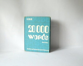 Vintage Dictionary 20,000 Words Sixth Edition 6th Pocket Dictionary Vintage Book Futuristic Syllable Spelling Old School