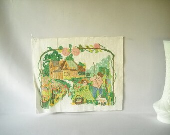 Vintage Needlepoint Cross Stitch Pillow Top Cottage Chic Garden Children Rabbit Shabby Chic