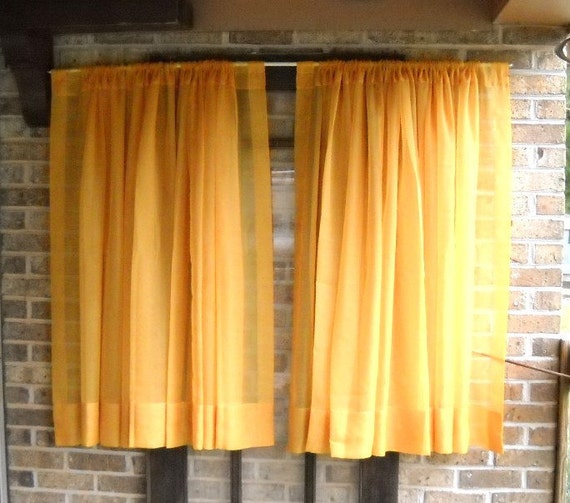 Vintage Sheer Golden Orange Curtain Drape Panels