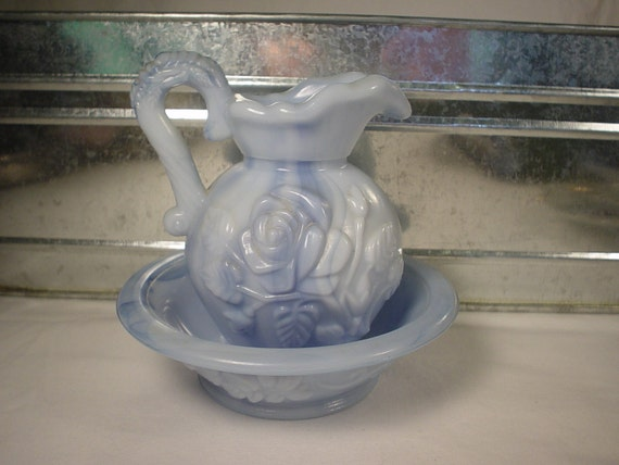 Vintage 1978 Avon Blue Slag Glass Pitcher and Bowl