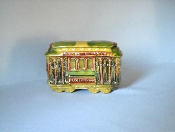 Vintage Cable Car Bank San Francisco Souvenir Bank Ceramic Bank Kitsch Railroadiana Transportation Collectible Piggy Bank Coin Bank