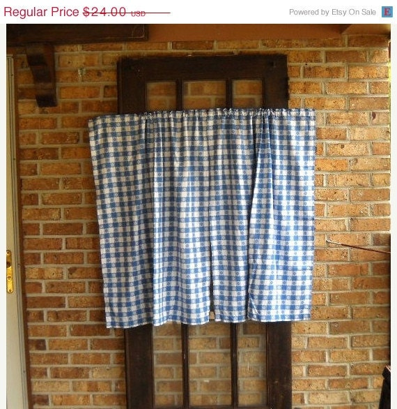 Cyber Monday 30% OFF Vintage Blue Gingham Curtains Farmhouse