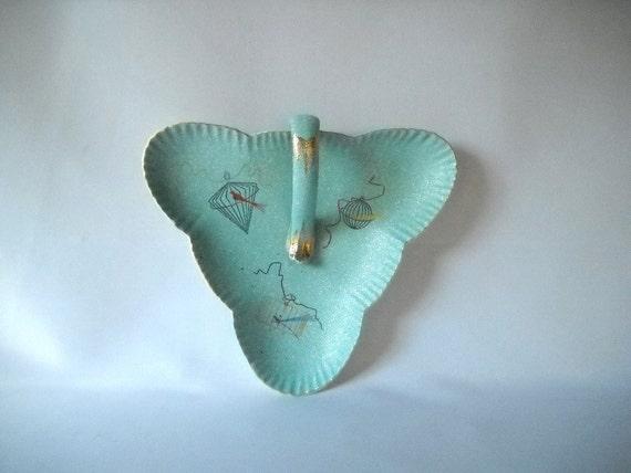 Vintage Dish Ceramic Candy Dish Mid Century Aqua Teal Dish Turquoise Dish Birdcage