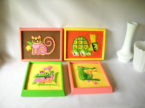 Vintage Needlepoint Pictures Animals Neon Colors Retro Cat Kangaroo Turtle Frog Pink Yellow Green Little Girls Room Decor