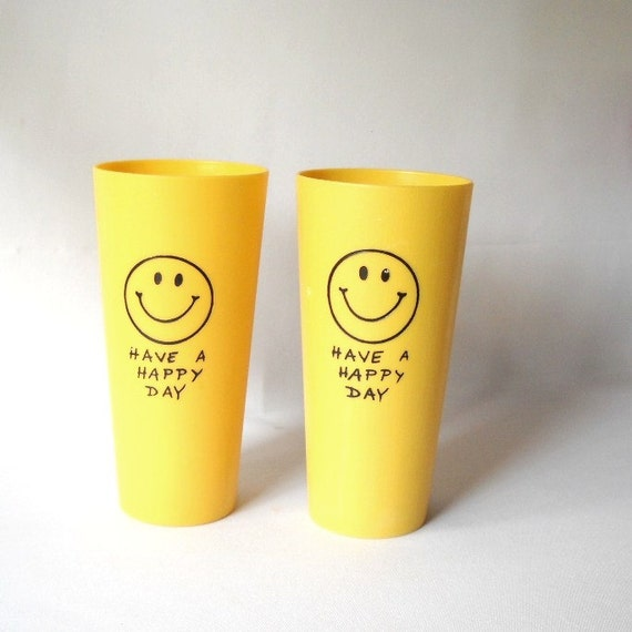 Vintage Smiley Face Tumblers  Plastic Tumblers Kitsch 1970s Decor Yellow Happy Drinking Glass Iconic