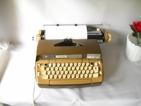 Vintage Typewriter Smith Corona Coronet Electric Typewriter Retro Office Decor Two Tone Brown Faux Bois