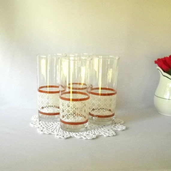 Vintage Drinking Glasses Tumblers Lattice Design  Barware Patio Dining Entertaining Party Summer
