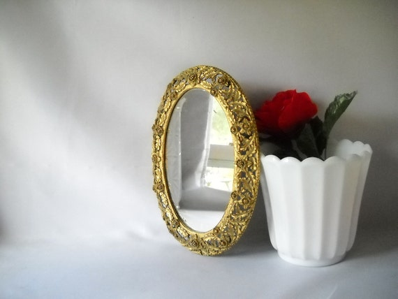 RESERVED for sunshine306 Vintage Mirrored Tray Hollywood Regency Tray Vanity Tray Boudoir Ornate Floral