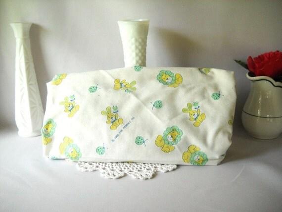 Vintage Crib Sheet  Child's Room Baby Nursery Decor Lion Bunny Ladybug