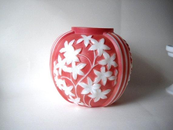 Vintage Vase Phoenix  Art Glass Vase Starflower Pattern Antique Vase Art Deco Rose White