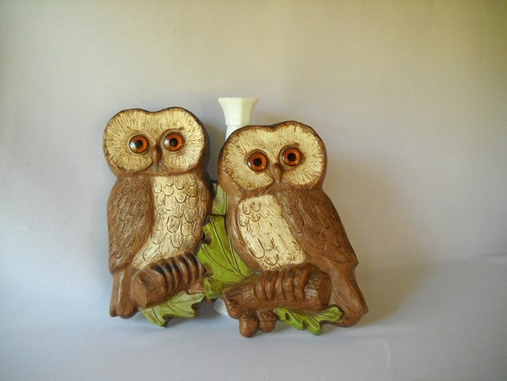 Vintage Owl Figures Molded Plastic Wall Hangings Hoda Plaques Birds Nature Kitsch 1970s Decor