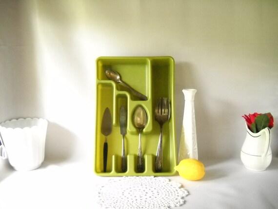 Vintage Rubbermaid Silverware Tray Plastic Avocado Green Utensil Organizer Kitchen Drawer Storage