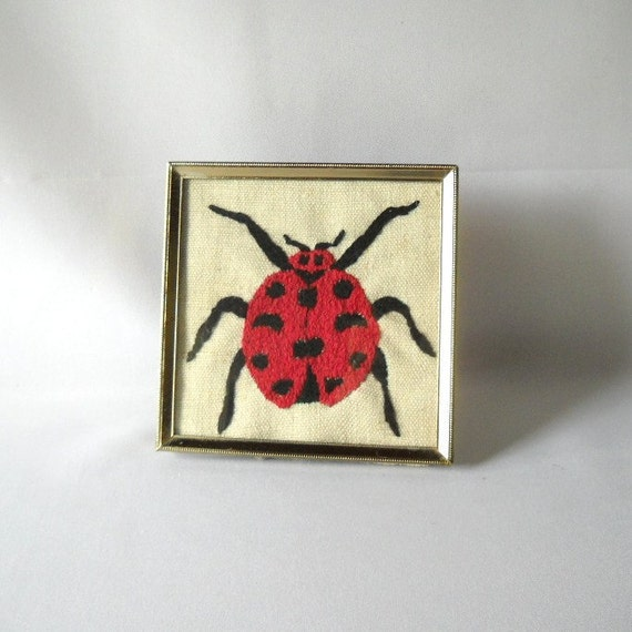 Vintage Needlepoint Picture Ladybug Cross Stitch Insect Critter Creature Fiber Art  Needle Work Crafts