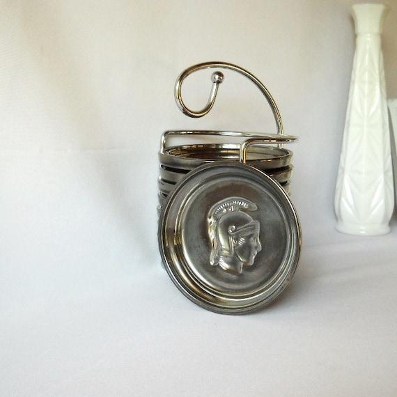 Vintage Coasters Mercury Glass Centurian Roman Spartacus Man Cave Bar Decor Retro 1960s Decor