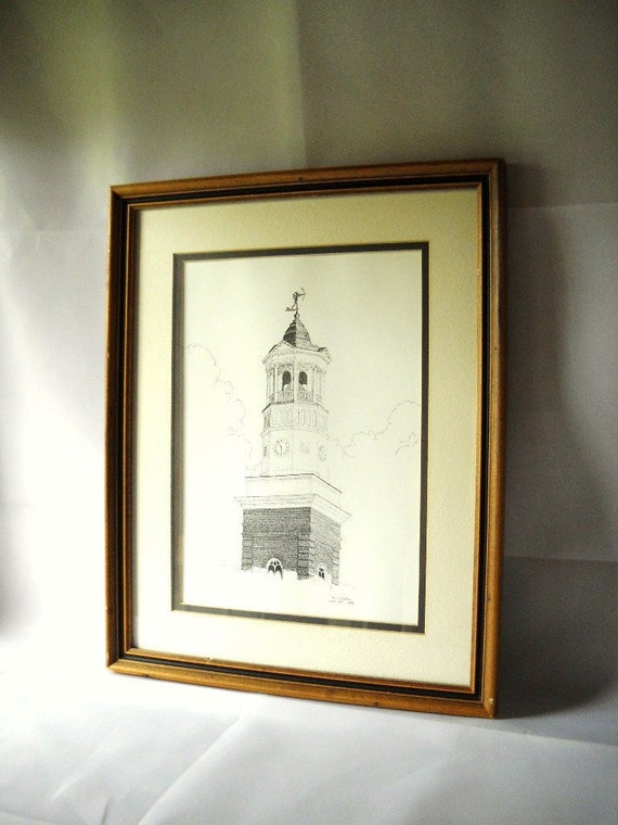 Vintage Print Camden SC City Hall King Haigler Ink Drawing South Carolina Southern History