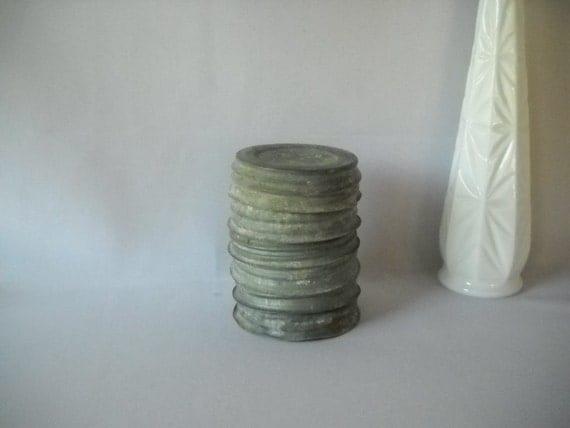 Vintage Zinc Lids Canning Lids Porcelain Inserts Ball Mason Jar Lids Antique Metal