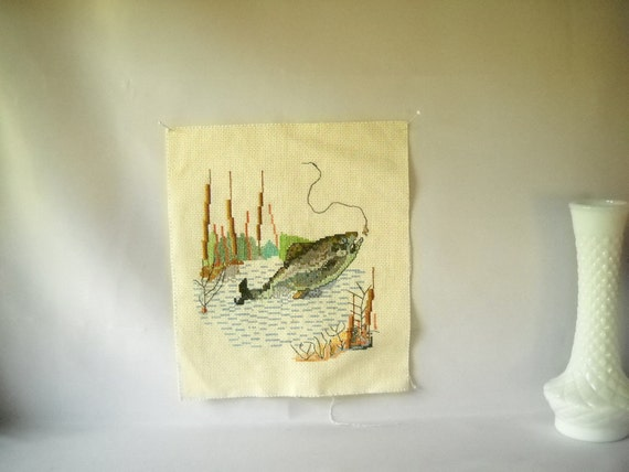Vintage Needlepoint Cross Stitch Vintage Embroidery Pillow Top Fish Fly Fishing Man Cave Country Decor Set of 3