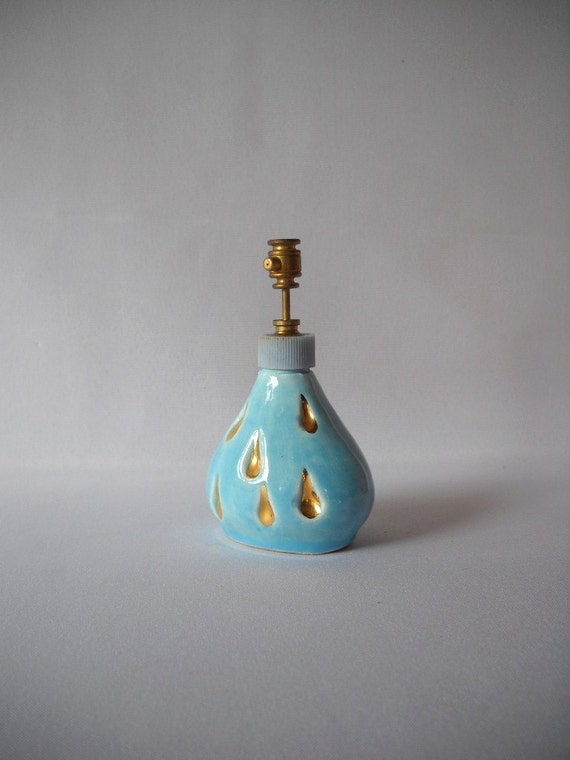 Vintage Perfume Bottle Leo Mann Atomizer Aqua and Gold Bottle