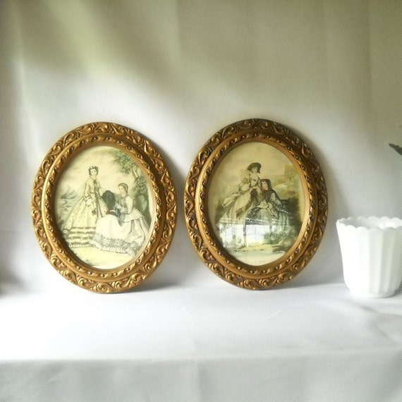 Vintage Prints Oval Frames Southern Belles Victorian Ladies Framed Prints Shabby Chic