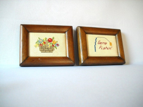 Vintage Needlepoint Pictures Gone Fishing Needle Art  Flower Basket Crosstitch