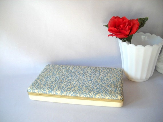 Vintage Jewelry Box Faux Leather Embossed Jewelry Box Shabby Chic Mid Century Mele Wedgwood Blue