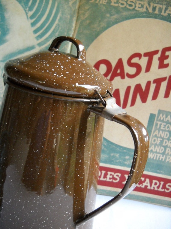Vintage Brown Enamel Cowboy Camping Coffee Pot