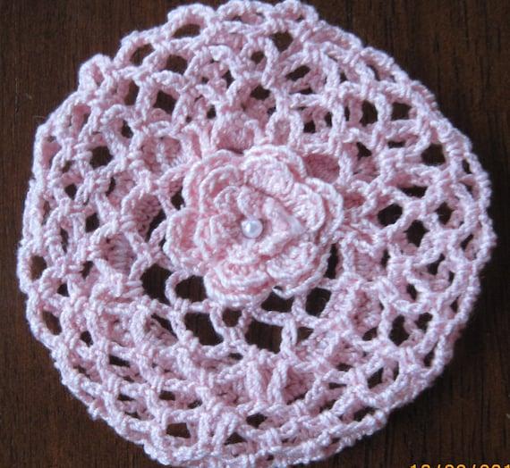 Crochet Bun Cover Snood Ballerina Ballet Dance pink medium stocking stuffer