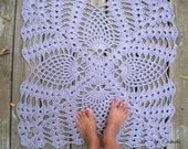 "Cotton Crochet Rug Square Lavender Pineapple Pattern 28"""