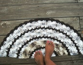 White, Espresso Brown, Taupe Cotton Crochet Rug in Half Circle READY TO SHIP
