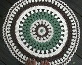 "Creamy White, Brown, Ecru, Sage Green Cotton Crochet Rug in 25"" Circle Pattern Non Skid"