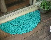 """Doormat Turquoise Crochet Half Circle 15"""" x 30"""""""
