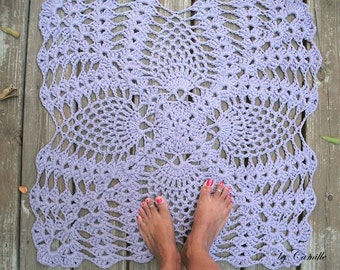 Cotton Crochet Rug Square Lavender Pineapple Pattern 28""