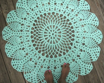 "Robins Egg Blue Cotton Crochet Rug 42"" Circle Pineapple Lacy Pattern"