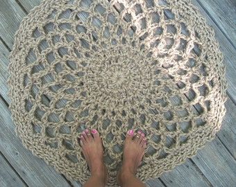 Jute Cord Round Crochet Rug Lacy Doily 32""