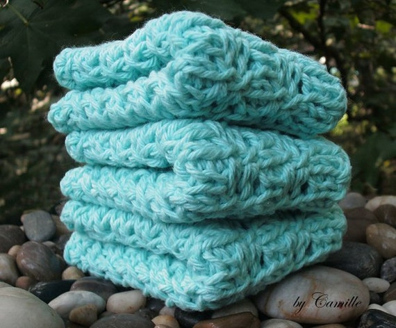 Robins Egg Blue Cotton Tunisian Crochet Wash Cloths Set of 3