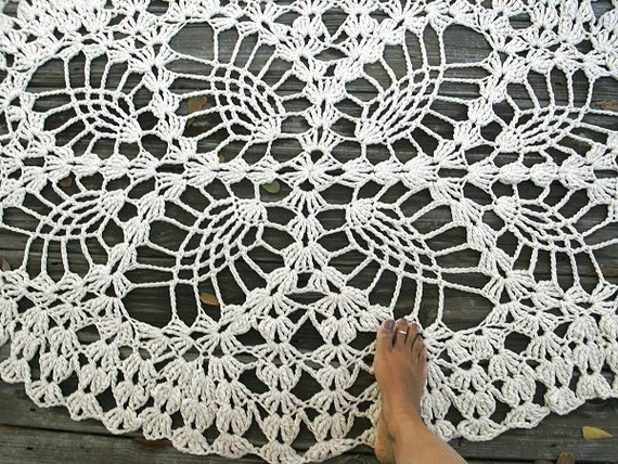 "Listing for Adria - Ecru Off White Cotton Crochet Rug in Large 62"" Oval Pineapple Lacy Pattern Non Skid READY TO SHIP"