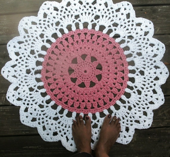 Items Similar To Rose Pink And White Crochet Doily Cotton