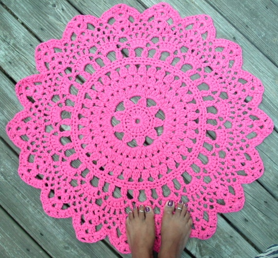 Hot Pink Cotton Crochet Doily Rug In 30 Circle Lacy