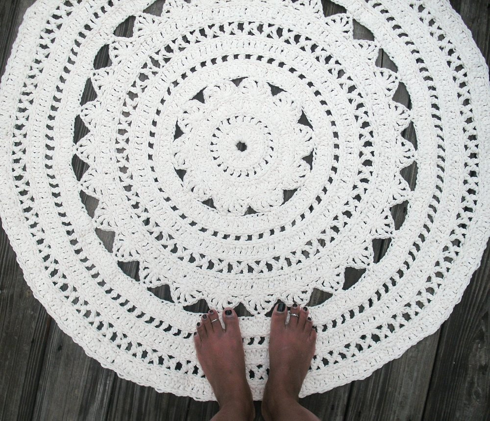 Creamy White Cotton Crochet Rug In Large 40 Circle