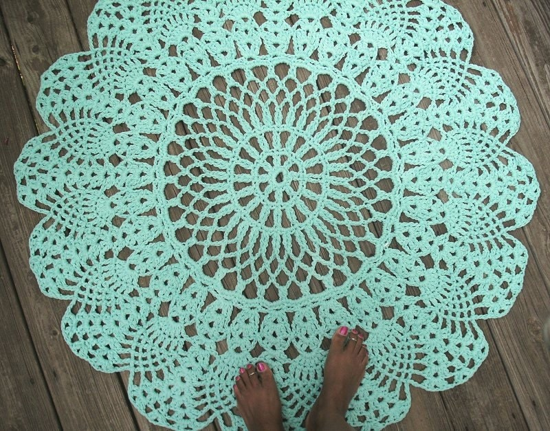 Robins Egg Blue Cotton Crochet Rug 42 Circle by ...