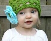 SCALLOPED BOUQUET BEANIE Boutique Lime Skull Hat Cap Crochet... UPick Size- Great Photo Prop