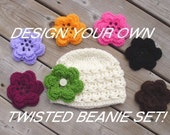 Design Your Own Twisted BOUQUET Beanie Hat Set- Upick Hat Color and Interchangeable Flowers-Great Photo Prop