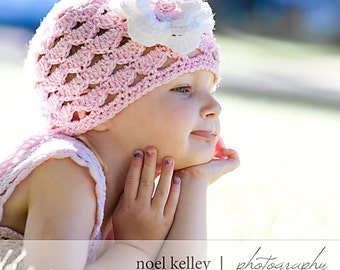 SCALLOPED BOUQUET BEANIE Boutique Pink/White Skull Hat Cap Crochet- Upick Size- Great Photo Prop