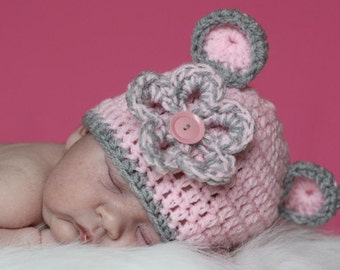 Bitty BEAR BOUQUET BEANIE Skull Hat Crochet UPick SIze...True Pink Hat with Silver-Grey Trim and Flower..  Great Photo Prop