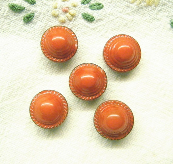 Red Buttons Celluloid Tight Top Set of 5