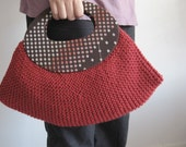 Garter stitch hobo bag-Red line and dots