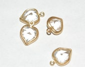 Brass Set Crystal Glass Faceted Heart Charms chr116