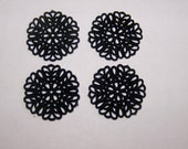 Lacy Black Plastic Filigree Beads 30mm bds342