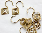 Raw Brass Square Spiral Mod Ear Wires fnd015