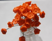 Vintage Orange Glass Flowers on Wire Stems bds660C